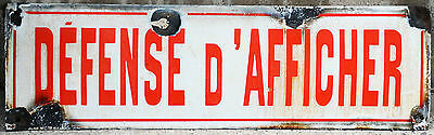 Vintage used French no sticking bill posters enamel steel metal road street sign