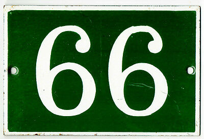 Green French house number 66 99 door gate plate plaque enamel steel metal sign