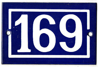 Old blue French house number 169 door gate plate plaque enamel steel metal sign