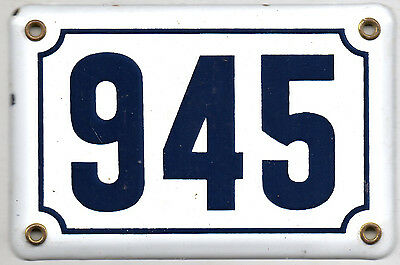Old blue French house number 945 door gate plate plaque enamel steel metal sign