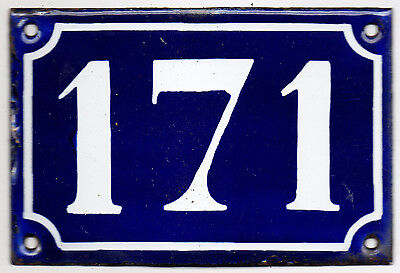 Old blue French house number 171 door gate plate plaque enamel steel sign c1900