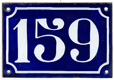Old blue French house number 159 door gate plate plaque enamel steel sign c1900