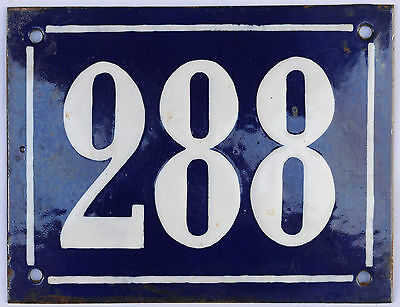 Large French house number 288 door gate plate plaque enamel steel metal sign