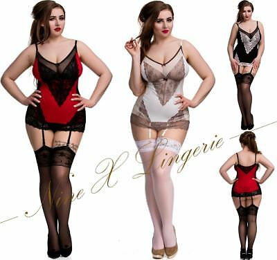 Nine X Plus Size Lingerie S-6XL Babydoll with suspender straps Chemise