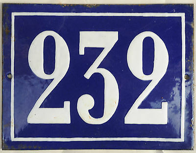Big blue French house number 232 door gate plate plaque enamel steel metal sign