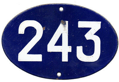 Old blue oval French house number 243 door gate plate plaque enamel steel sign