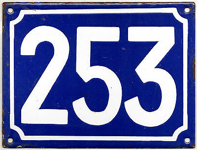 Large old blue French house number 253 door gate plate plaque enamel metal sign