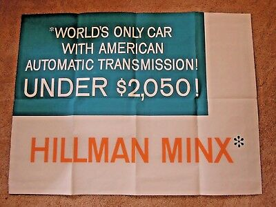 1960s Original Hillman Minx Dealer Sales Poster For Wall or Window 37 x 48""