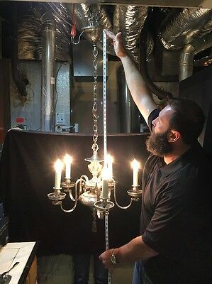 Antique Silver Plated 6 Light Chandelier