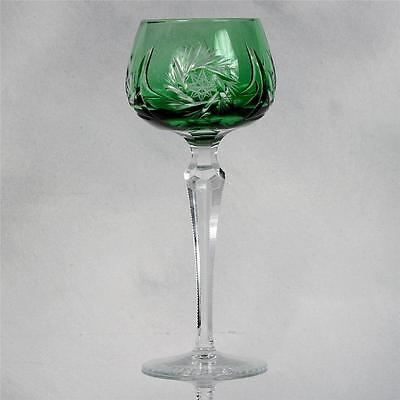 Bohemian Cut To Clear Crystal Wine Hock - Green/clear
