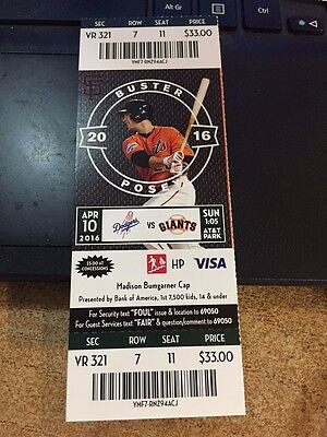 2016 Sf Giants Vs La Dodgers Ticket Stub 4/10 Cueto Win Buster Posey Hr #104