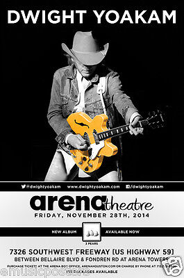 DWIGHT YOAKAM 2014 HOUSTON CONCERT TOUR POSTER - Country Music Guitar Legend