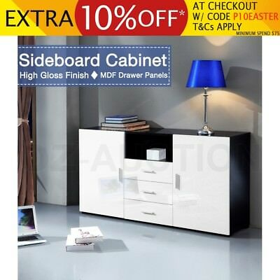 Black & White 2 Door 3 Drawer Buffet Sideboard High Gloss Storage Cabinet Table