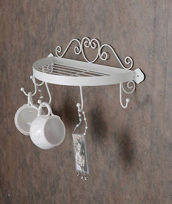 Wandregal Shabby Chic Regal Hakenleiste Weiss Metallablage Wandablage