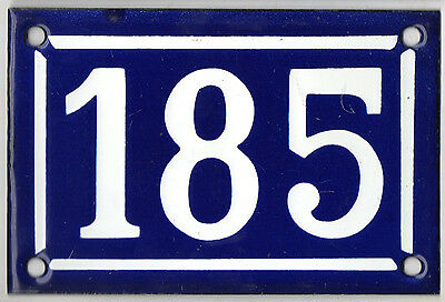 Old blue French house number 185 door gate plate plaque enamel steel metal sign