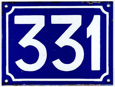 Large old blue French house number 331 door gate plate plaque enamel metal sign