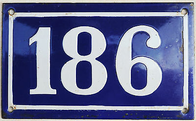 Large old blue French house number 186 door gate plate plaque enamel metal sign