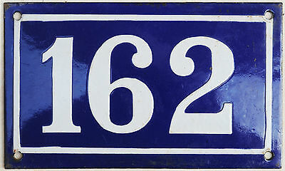 Large old blue French house number 162 door gate plate plaque enamel metal sign