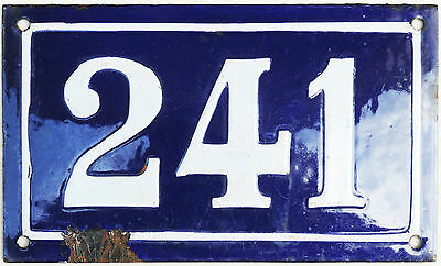 Large old blue French house number 241 door gate plate plaque enamel metal sign