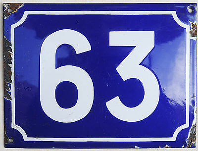 Large French house number 63 door gate plate plaque enamel steel metal sign