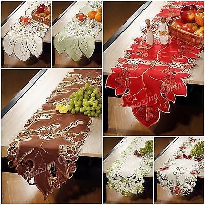 Table Runners Tablecloths 40 x 160cm Red Brown Purple Cream Roses Home Decor