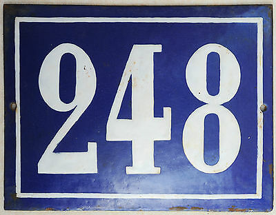 Large old French house number 248 door gate plate plaque enamel steel metal sign