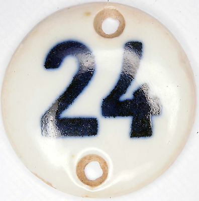 Small old blue porcelain French house number 24 door room gate plate plaque sign