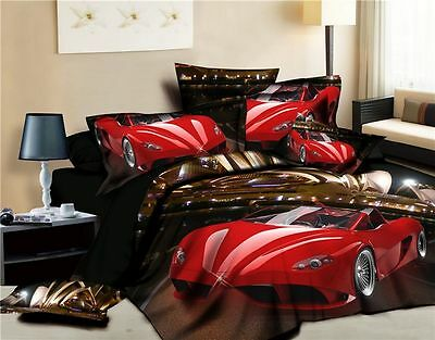 100% Cotton 3D Duvet Cover Bedding Set King Size Red Car Pattern