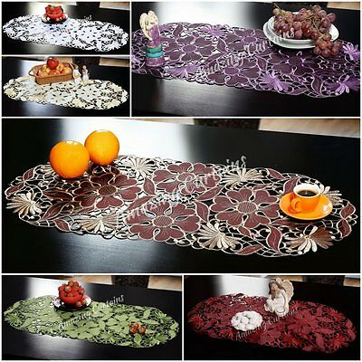 Embroidered Table Runners Tablecloths 40x90cm Brown White Green Purple Burgundy