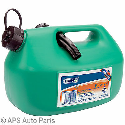 Draper 48358 5L Plastic Fuel Can Green Petrol Diesel Pouring Spout Lightweight