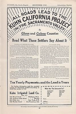 1912 Kuhn Irrigated Land Co Ad: Kuhn California Project in Sacramento Valley