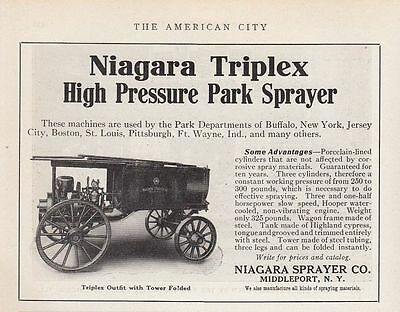 1913 Niagara Sprayer Co Middleport NY Ad: Triplex High Pressure Park Sprayer
