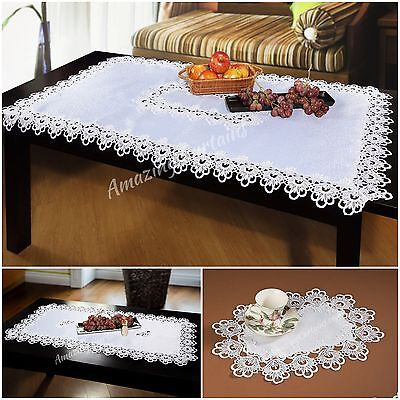 High Quality Premium White Ivory Tablecloths Table Runners Lace Embroidered
