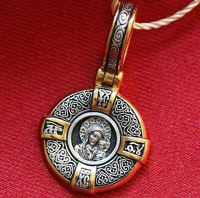 Mother Of God Kazan Small Silver 925+999 Gold Pendant Charm Russian Orthodox