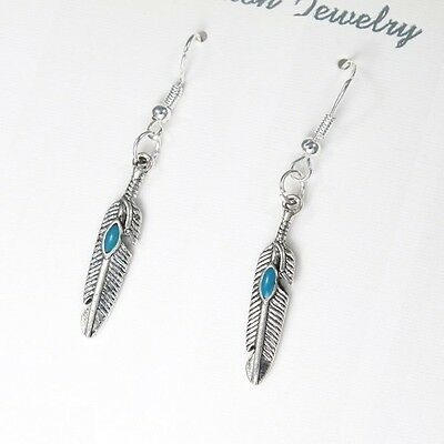 12 Pairs Wholesale Lot Turquoise Feather Native American Earrings Sterling Hooks