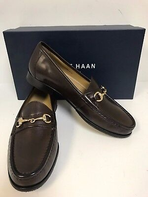 Cole Haan Ascot II C02497 Dk Brown Lea Loafer W/ Gold Bit & Half Rubber Sole-New