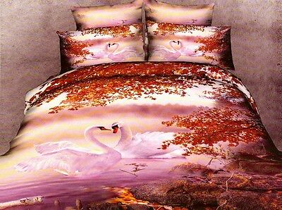 100% Cotton 3D Bedding Set Lovely Couple Swans Duvet Cover Double Christmas Gift