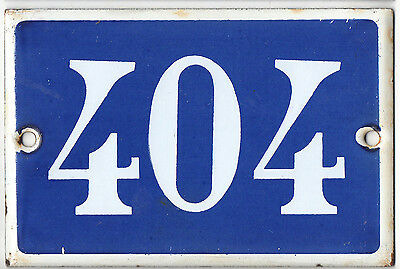 Old blue French house number 404 door gate plate plaque enamel steel metal sign
