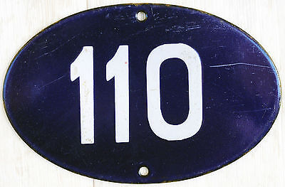 Old blue oval French house number 110 door gate plate plaque enamel steel sign