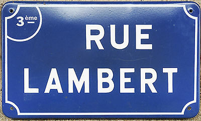 Old French enamel steel street road sign plaque plate name Rue Lambert Nantes