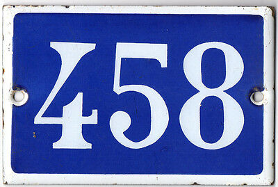 Old French house number 458 door gate plate plaque enamel steel metal sign