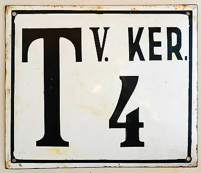 Large old Hungarian house number 4 door gate plate plaque enamel metal sign