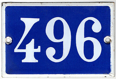 Old French house number 496 door gate plate plaque enamel steel metal sign