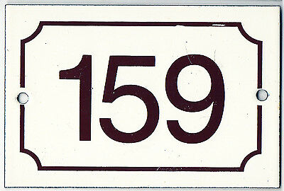 Brown French house number 159 door gate plate plaque enamel steel metal sign
