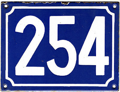 Large old blue French house number 254 door gate plate plaque enamel metal sign