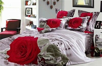 100% Cotton 3D Bedding Set King Size Duvet Cover Red Rose Bedroom Decoration New