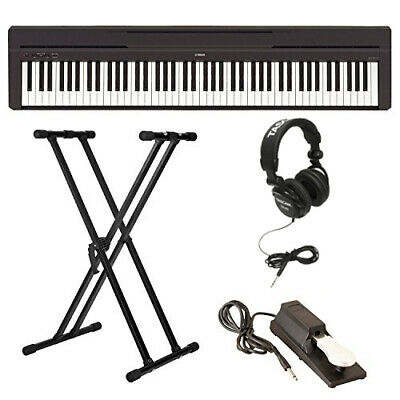 Yamaha P-45B Digital Piano with Stand, Sustain Pedal, and Headphones