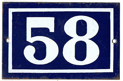 Old blue French house number 58 door gate plate plaque enamel metal sign steel