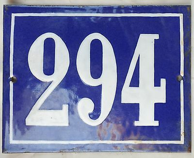 Large old French house number door gate plate plaque enamel steel metal sign 294