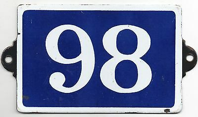 Old blue French house number 98 door gate plate plaque enamel steel metal sign